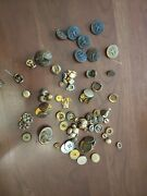 Vintage Metal Buttons Military Other And 1 Pair Of Cuff Links
