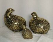 3 Brass Quail Partridge Bird Family Figurines Vintage 4 1/4 And 3 3/4 And 2 1/4