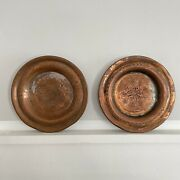 """2 Antique Arts And Crafts Hand Hammered Copper 6"""" Plates Tray_wall Hanging Decor"""