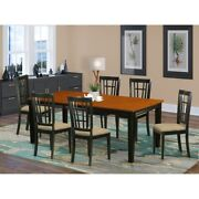 Dining With 8 Wood Chairs - Black And Cherry Finish Chairs Black Quni9-bch-c