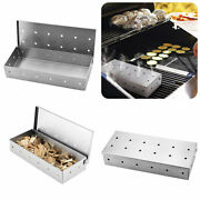 Stainless Steel Smoker Box For Bbq Grill Wood Chips Gas Barbecue Meat Smoking