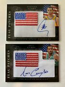 2010-11 Stephen Curry And Dell Curry Black Box Flag Patch Auto Cards - Combo