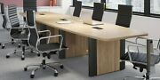 8 Ft Foot Conference Table With Grommet Has Black Metal Trim On Legs