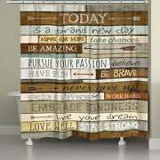 Laural Home Brand New Day Shower Curtain Brown 71 X 74