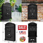 Large Vintage Mailbox Wall Mount Post Box Outdoor Locking Letter Mail+black