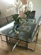 Custom Meridith Baer Glass Dining Table Seats 6-8 Table Only