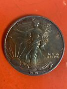 1990 American Eagle Silver Dollar, Walking Liberty, With Toning On Obverse Side