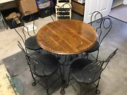Vintage Ice Cream Parlor Set Wrought Iron And Oak Patio Table And 5 Chairs
