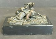 Bronze Dogs On Deer Hunting Statue 5 Long