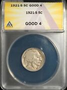 1921-s Buffalo Nickel ==anacs G-4 ==strong Date ==free Shipping