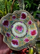 Outstanding Nippon Heavy Gold Beaded Enamel Hand Painted Roses Bowl Free Ship