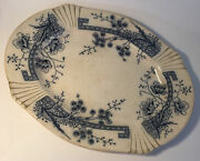 C H And H Tunstall Windsor England Platter 19th C Victorian Rare Blue And White