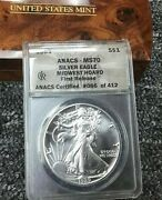 1989 1 American Silver Eagle Anacs Ms70 First Release Midwest Hoard Pedigree