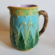 1870s George Jones England Turquoise Wheat Majolica Pitcher Signed