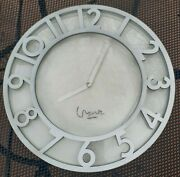 Michael Graves Signed Round Wall Clock Mat Silver