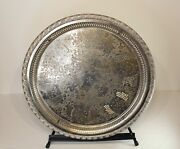 Marque Déposée Silver Metal Serving Platter Tray Large Marked Enghekrow Scrolls