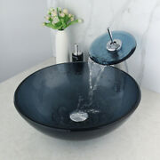 Us Round Bathroom Vessel Sink Drain Mixer Faucet Basin Vanity Glass Bowl Chrome