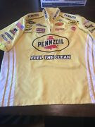 2009 Autographed Kevin Harvick Pennzoil Tons Of Patches Nascar Crew Shirt Xl