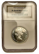 1963 Canada 50 Cent Silver Half Dollar Ngc Pl66 ' Ultra Cameo ' Proof Like Rare