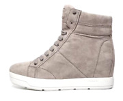 Prada Women's Suede Grey High Top Wedge Half Ankle Boots N4198 Size 40 / 10 Us