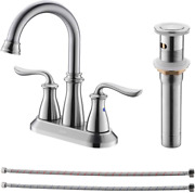 Dayone Bathroom Sink Faucet Brushed Nickel 2 Handle Centerset Lavatory Faucet F