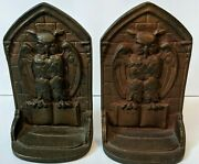 Antique Vintage Heavy Cast Iron Owls Bookends Book Ends 6.5'x4' Usa