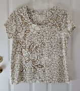 Coldwater Creek Short Sleeve Ivory And Gold T-shirt With Sequins Plus Size 1x