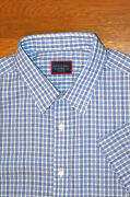 Untuckit Dante Wrinkle Free Shirt Short Sleeve Button-up Blue Check Nwot Xl