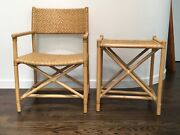 Mid Century Distressed Cane And Bamboo Directors Chair And Side Table