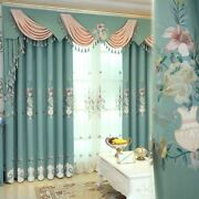 European Curtains Embroidered Window Treatments Woven Floral Home Decoration New