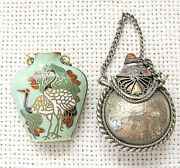 China Antique 2 Snuff-perfume Bottles - Silver Sterling And Enamel Cloisonne