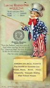 Trade Card Uncle Sam Weather Man With Cloth Flag - Paints Adv. Dietzer Litho
