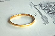Genuine Antique English 22k Gold Wedding Posy Ring 'old England For Ever' C1700s