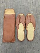Wwii Us Military Issue Mens Medium Barracks Shower Slippers W/ Carry Bag