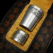Art Deco French Sterling Silver Tumbler Cup And Napkin Ring Boxed Set Clover Motif