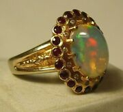 Ring Solid Gold 72 18k750 Imperial Russia Opal Diamonds