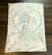 Precious Moments Love Covers All Baby Boy Blue Teddy Bear Heart Blanket Quilt