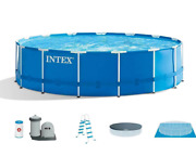Intex 26741eh 15ft X 48in Metal Frame Above Ground Pool Set With Pump And Cover