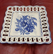 Bombay Style Square Openwork Serving Dish Blue And White 8andrdquox8andrdquo Flower Pattern