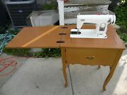 Brother Profile 841 Vintage Sewing Machine 140 Watt W/ Table Stand And Accessories
