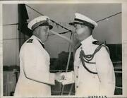 1938 Press Photo Commander Paul Serpette Of French Gunboat Greeted At D.c.