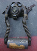 Vintage Us Military Usn Navy Wwii Optical Gas Mask And Canister Rare Steampunk
