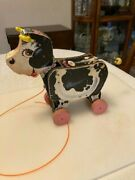 Vintage Fisher Price Moo-oo Cow Pull Toy. 155. Still Bellers.