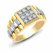 Mens 9ct 2 Colour Gold 0.5ct Diamond Watch Signet Ring 12mm