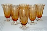 6 Pcs Fostoria Stem 5097 Beverly Amber Ice Tea Footed Tumblers Water Glasses 6