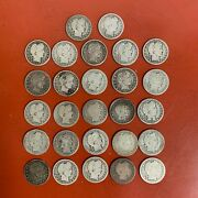 Lot Of 27 25¢ Circulated Silver Barber Quarters, Some Better Dates / Green