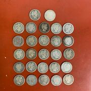 Lot Of 27 25¢ Circulated Silver Barber Quarters, Some Better Dates / Orange
