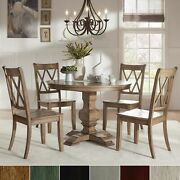 Eleanor Oak Round Soild Wood Top And X Back Chairs 5-piece