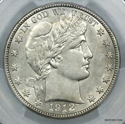 Pcgs Au58 1912-d Barber Silver Half Dollar About Uncirculated + 50c Bc02