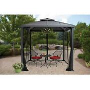 Metal Hardtop Patio Gazebo 8' X 8' Outdoor Canopy With Mosquito Curtains Netting